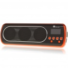 "1"" LED Mini Portable MP3 Music Speaker with FM/USB/SD/AUX - Orange + Black"
