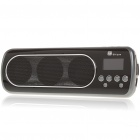"1"" LED Mini Portable MP3 Music Speaker with FM/USB/SD/AUX - Grey + Black"