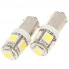 BA9S 0.3W 6500K 5-SMD LED White Light Bulbs for Car License Plate/Dashboard/Reading (Pair)