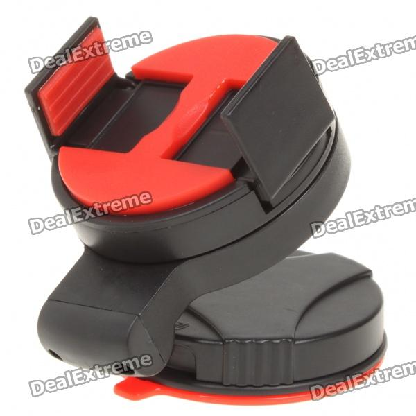 Car Windshield Swivel Mount Holder w/ Suction Cup for Iphone 4 - Black + Red