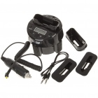 "1.2"" LCD FM Transmitter Docking Station w/ USB Power Port for iPhone 3GS/4/iPod - Black (DC 12~24V)"