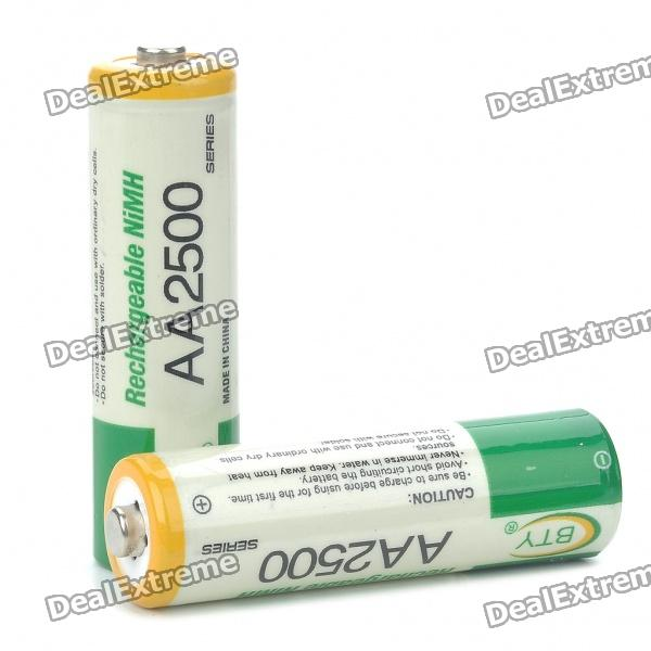 BTY Rechargeable 1.2V 700mAh AA NI-MH Batteries (Pair) bty 1 2v 3000mah ni mh rechargeable aa batteries pair