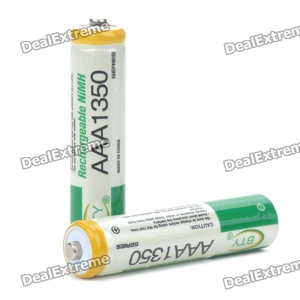BTY Rechargeable 1.2V 1350mAh AAA NI-MH Batteries (Pair) 8pcs pkcell battery aaa pre charged nimh 1 2v 1200mah ni mh 3a rechargeable batteries up to 1000mah capacity cycle 1200times