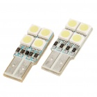 T10 0.8W 110LM 8000K 8x5050 SMD LED White Light Bulbs for Car (Pair)