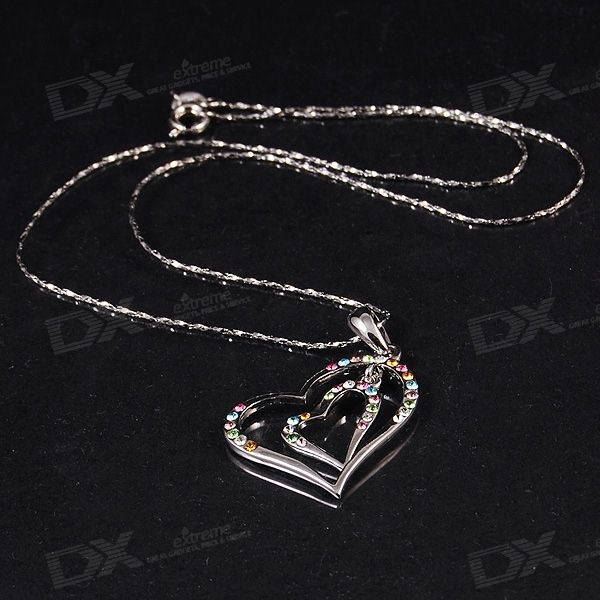Dazzling Crystals Heart-and-Heart 18K RGP Necklace asg dxa 1 500ghz crystals and oscillators mr li