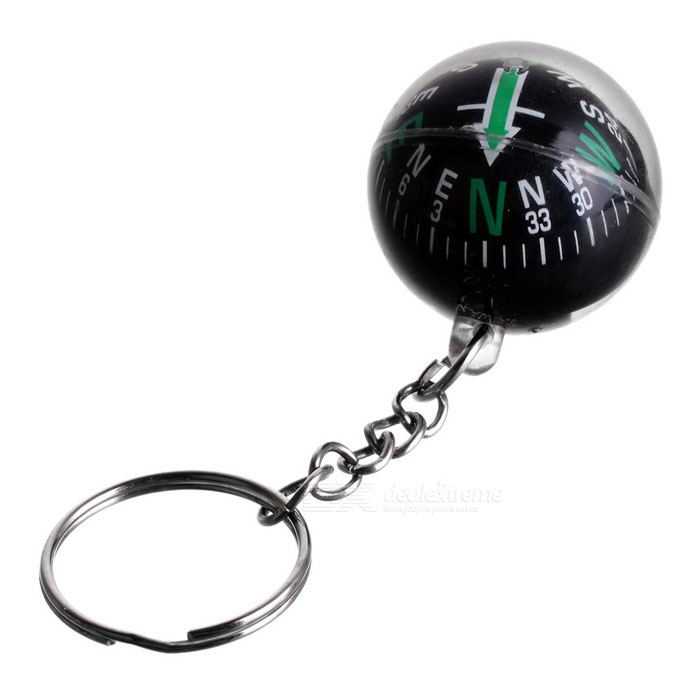 Crystal Ball Compass Keychain - Black + Green