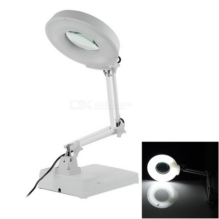Illuminated 8X Desktop Magnifier (2 Feet Large) 220v 10x desk clip on led illuminated green optical big magnifying glass led lamp folding stand large magnifier with led lights