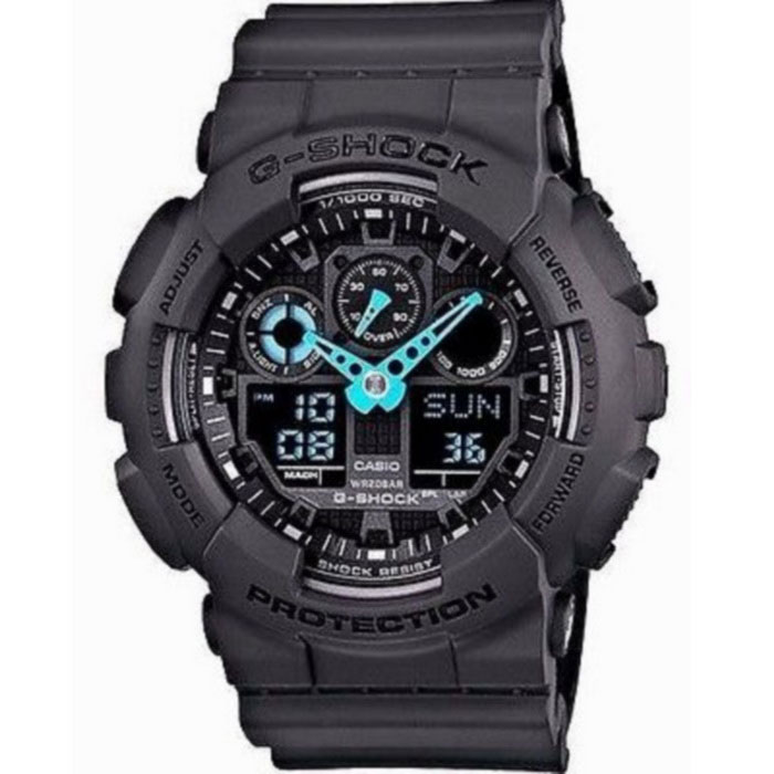 Casio G-Shock GA-100C-8A Mens Watch - Black &amp; BlueSport Watches<br>Form ColorBlack + BlueModelGA-100C-8AQuantity1 DX.PCM.Model.AttributeModel.UnitShade Of ColorBlackCasing MaterialResinWristband MaterialResinSuitable forAdultsGenderMenStyleWrist WatchTypeSports watchesDisplayAnalog + DigitalMovementDigitalDisplay Format12/24 hour time formatWater ResistantOthers,200Dial Diameter35 DX.PCM.Model.AttributeModel.UnitDial Thickness16.9 DX.PCM.Model.AttributeModel.UnitWristband Length220 DX.PCM.Model.AttributeModel.UnitBand Width21.7 DX.PCM.Model.AttributeModel.UnitBatteryCR1220Other FeaturesShock Resistant<br>200M Water Resistant<br>Anti-Magnetic Structure<br>1/1000th Second Stopwatch with Speed IndicatorPacking List1 x Main device<br>