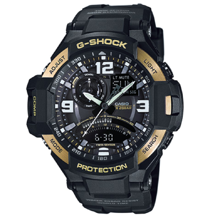 Casio G-Shock GA-1000-9G Aviation Series Mens Watch - Black &amp; GoldSport Watches<br>Form ColorBlack + GoldModelGA-1000-9GQuantity1 DX.PCM.Model.AttributeModel.UnitShade Of ColorBlackCasing MaterialResinWristband MaterialResinSuitable forAdultsGenderMenStyleWrist WatchTypeSports watchesDisplayAnalog + DigitalMovementDigitalDisplay Format12/24 hour time formatWater ResistantOthers,200Dial Diameter50.8 DX.PCM.Model.AttributeModel.UnitDial Thickness16.6 DX.PCM.Model.AttributeModel.UnitWristband Length240 DX.PCM.Model.AttributeModel.UnitBand Width21.7 DX.PCM.Model.AttributeModel.UnitBatterySR927W ? 2Other FeaturesMineral Glass / Spherical Glass<br>Neobrite<br>Shock Resistant<br>200-meter water resistance<br>Case / bezel material: Resin / Stainless steelPacking List1 x Main device1 x Guide<br>