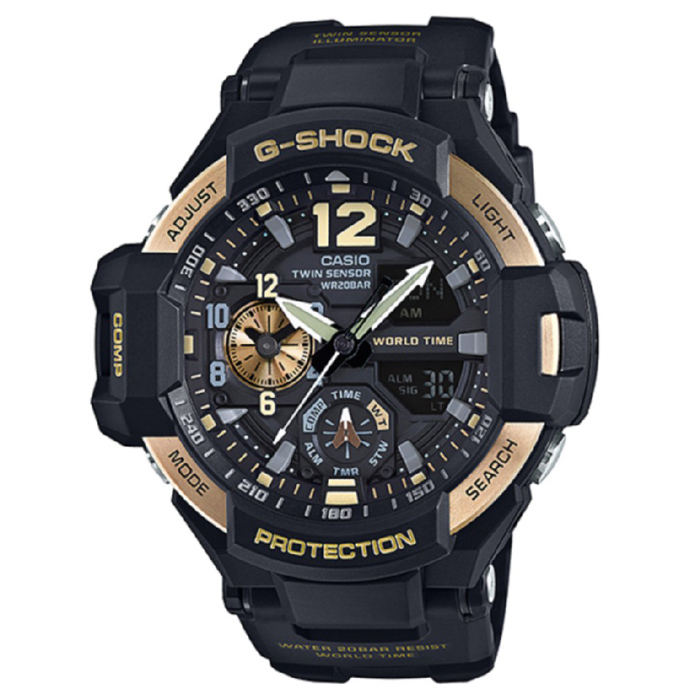 Casio G-Shock GA-1100-9G Mens Watch - Black &amp; GoldenSport Watches<br>Form ColorBlack + GoldModelGA-1100-9GQuantity1 DX.PCM.Model.AttributeModel.UnitShade Of ColorBlackCasing MaterialResinWristband MaterialResinSuitable forAdultsGenderMenStyleWrist WatchTypeSports watchesDisplayAnalog + DigitalMovementDigitalDisplay Format12/24 hour time formatWater ResistantOthers,200mDial Diameter50.8 DX.PCM.Model.AttributeModel.UnitDial Thickness16.6 DX.PCM.Model.AttributeModel.UnitWristband Length215 DX.PCM.Model.AttributeModel.UnitBand Width21.7 DX.PCM.Model.AttributeModel.UnitBatterySR927W ? 2Other FeaturesMineral Glass / Spherical Glass<br>Neobrite<br>Shock Resistant<br>200-meter water resistance<br>Case / bezel material: Resin / Stainless steel<br>Resin BandPacking List1 x Main device1 x Guide<br>