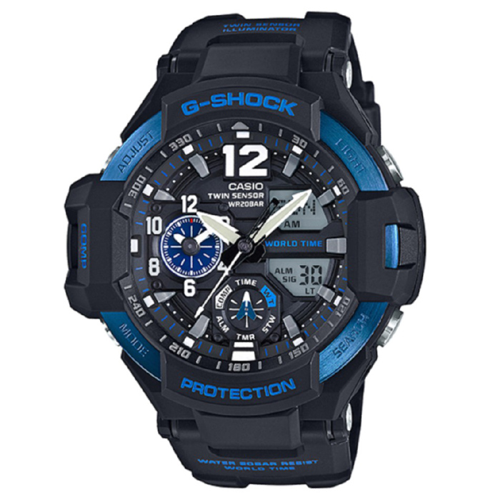 Casio G-Shock GA-1100-2B Mens Watch - Black &amp; BlueSport Watches<br>Form ColorBlack + BlueModelGA-1100-2BQuantity1 DX.PCM.Model.AttributeModel.UnitShade Of ColorBlackCasing MaterialResinWristband MaterialResinSuitable forAdultsGenderMenStyleWrist WatchTypeSports watchesDisplayAnalog + DigitalMovementDigitalDisplay Format12/24 hour time formatWater ResistantOthers,200mDial Diameter50.8 DX.PCM.Model.AttributeModel.UnitDial Thickness16.6 DX.PCM.Model.AttributeModel.UnitWristband Length215 DX.PCM.Model.AttributeModel.UnitBand Width21.7 DX.PCM.Model.AttributeModel.UnitBatterySR927W ? 2Other FeaturesMineral Glass / Spherical Glass<br>Neobrite<br>Shock Resistant<br>200-meter water resistance<br>Case / bezel material: Resin / Stainless steel<br>Resin BandPacking List1 x Main device1 x Guide<br>