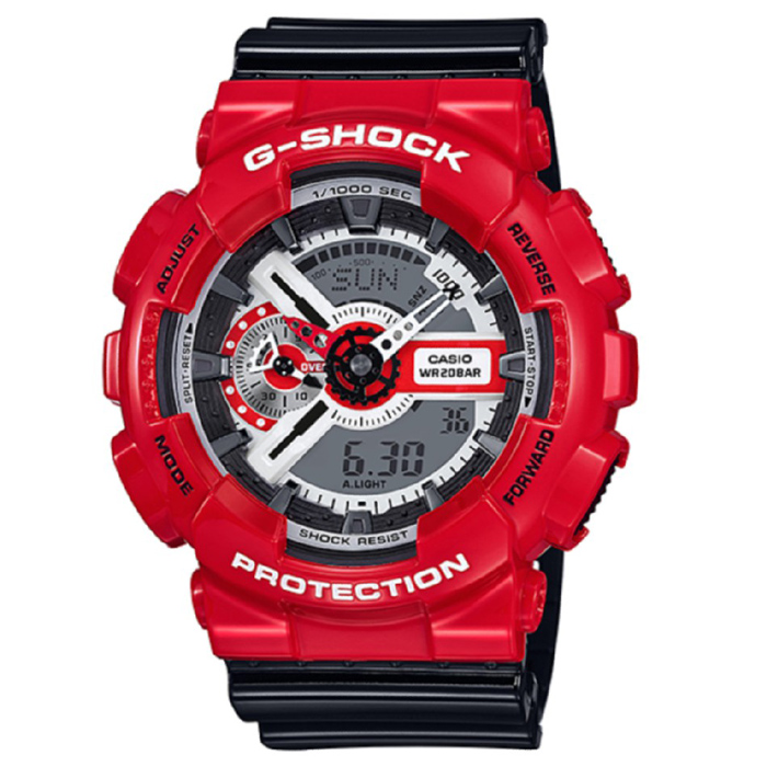 Casio G-Shock GA-110RD-4A Mens Watch - Red &amp; BlackSport Watches<br>Form ColorRed + GreyModelGA-110RD-4AQuantity1 DX.PCM.Model.AttributeModel.UnitShade Of ColorRedCasing MaterialResinWristband MaterialResinSuitable forAdultsGenderMenStyleWrist WatchTypeSports watchesDisplayAnalog + DigitalMovementDigitalDisplay Format12/24 hour time formatWater ResistantOthers,200mDial Diameter55 DX.PCM.Model.AttributeModel.UnitDial Thickness16.6 DX.PCM.Model.AttributeModel.UnitWristband Length240 DX.PCM.Model.AttributeModel.UnitBand Width21.7 DX.PCM.Model.AttributeModel.UnitBatteryCR1220Other FeaturesMineral Glass<br>Magnetic Resistant<br>Shock Resistant<br>200-meter water resistance<br>Case / bezel material: Resin<br>Resin BandPacking List1 x Main device1 x Guide<br>