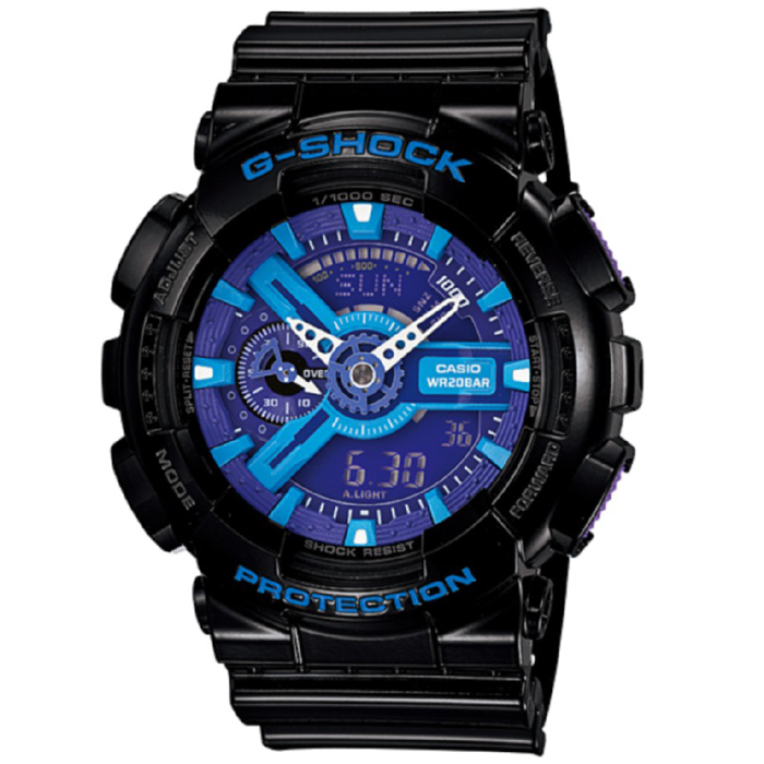 Casio G-Shock GA-110HC-1A Mens Watch - Blue &amp; Purple &amp; BlackSport Watches<br>Form ColorBlack + Purple + Multi-ColoredModelGA-110HC-1AQuantity1 DX.PCM.Model.AttributeModel.UnitShade Of ColorBlackCasing MaterialResinWristband MaterialResinSuitable forAdultsGenderMenStyleWrist WatchTypeSports watchesDisplayAnalog + DigitalMovementDigitalDisplay Format12/24 hour time formatWater ResistantOthers,200mDial Diameter55 DX.PCM.Model.AttributeModel.UnitDial Thickness16.6 DX.PCM.Model.AttributeModel.UnitWristband Length240 DX.PCM.Model.AttributeModel.UnitBand Width21.7 DX.PCM.Model.AttributeModel.UnitBatteryCR1220Other FeaturesMineral Glass<br>Magnetic Resistant<br>Shock Resistant<br>200-meter water resistance<br>Case / bezel material: Resin<br>Resin BandPacking List1 x Main device1 x Guide<br>