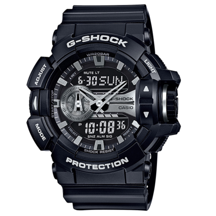 Casio G-Shock GA-400GB-1A Mens Watch - Black &amp; SilverSport Watches<br>Form ColorBlack + SilverModelGA-400GB-1AQuantity1 DX.PCM.Model.AttributeModel.UnitShade Of ColorBlackCasing MaterialResinWristband MaterialResinSuitable forAdultsGenderMenStyleWrist WatchTypeSports watchesDisplayAnalog + DigitalMovementDigitalDisplay Format12/24 hour time formatWater ResistantOthers,200mDial Diameter55 DX.PCM.Model.AttributeModel.UnitDial Thickness16.9 DX.PCM.Model.AttributeModel.UnitWristband Length240 DX.PCM.Model.AttributeModel.UnitBand Width21.7 DX.PCM.Model.AttributeModel.UnitBatterySR927W ? 2Other FeaturesMineral Glass<br>Magnetic Resistant<br>Shock Resistant<br>200-meter water resistance<br>Case / bezel material: Resin<br>Resin BandPacking List1 x Main device1 x Guide<br>