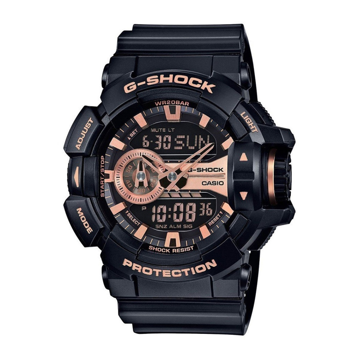 Casio G-Shock GA-400GB-1A4 Mens Watch - Black &amp; Rose GoldSport Watches<br>Form ColorBlack + Rose GoldModelGA-400GB-1A4Quantity1 DX.PCM.Model.AttributeModel.UnitShade Of ColorBlackCasing MaterialResinWristband MaterialResinSuitable forAdultsGenderMenStyleWrist WatchTypeSports watchesDisplayAnalog + DigitalMovementDigitalDisplay Format12/24 hour time formatWater ResistantOthers,200mDial Diameter55 DX.PCM.Model.AttributeModel.UnitDial Thickness16.9 DX.PCM.Model.AttributeModel.UnitWristband Length240 DX.PCM.Model.AttributeModel.UnitBand Width21.7 DX.PCM.Model.AttributeModel.UnitBatterySR927W ? 2Other FeaturesMineral Glass<br>Magnetic Resistant<br>Shock Resistant<br>200-meter water resistance<br>Case / bezel material: Resin<br>Resin BandPacking List1 x Main device1 x Guide<br>