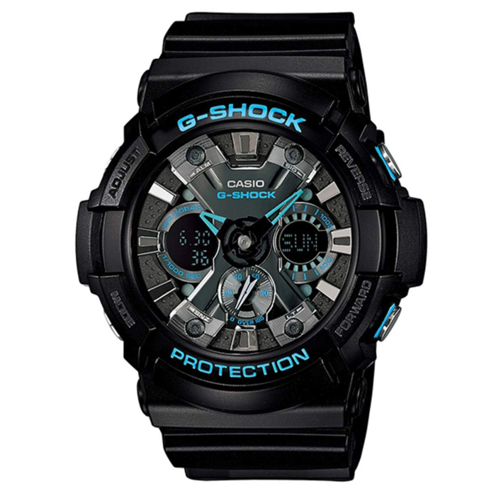 Casio G-Shock GA-201BA-1A Mens Watch - Black &amp; BlueSport Watches<br>Form ColorBlack + BlueModelGA-201BA-1AQuantity1 DX.PCM.Model.AttributeModel.UnitShade Of ColorBlackCasing MaterialResinWristband MaterialResinSuitable forAdultsGenderMenStyleWrist WatchTypeSports watchesDisplayAnalog + DigitalMovementDigitalDisplay Format12/24 hour time formatWater ResistantOthers,200mDial Diameter55 DX.PCM.Model.AttributeModel.UnitDial Thickness16.9 DX.PCM.Model.AttributeModel.UnitWristband Length240 DX.PCM.Model.AttributeModel.UnitBand Width21.7 DX.PCM.Model.AttributeModel.UnitBatteryCR1220Other FeaturesMineral Glass<br>Magnetic Resistant<br>Shock Resistant<br>200-meter water resistance<br>Case / bezel material: Resin<br>Resin BandPacking List1 x Main device1 x Guide<br>