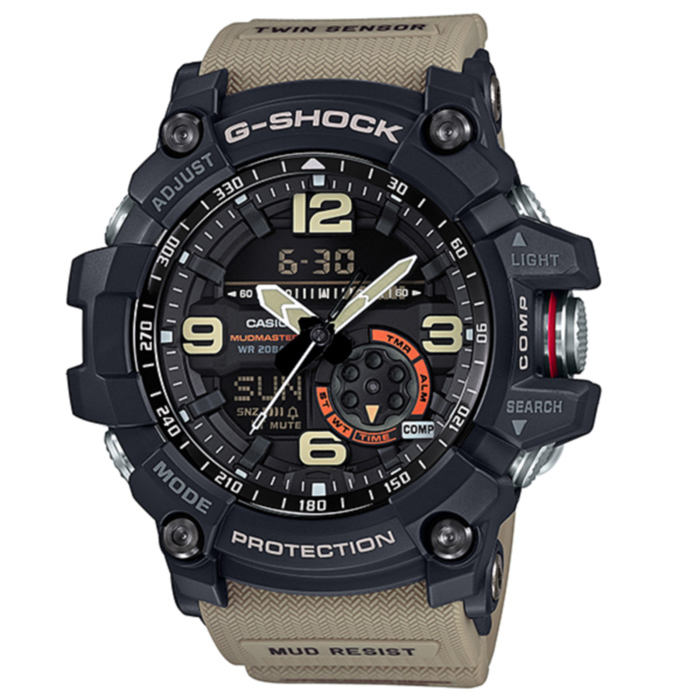 Casio G-Shock GG-1000-1A5 Mudmaster Mens Watch -  Brown &amp; BlackSport Watches<br>Form ColorBlack + CoffeeModelGG-1000-1A5Quantity1 DX.PCM.Model.AttributeModel.UnitShade Of ColorBlackCasing MaterialResinWristband MaterialResinSuitable forAdultsGenderMenStyleWrist WatchTypeSports watchesDisplayDigitalMovementQuartzDisplay Format12/24 hour time formatWater ResistantOthers,200mDial Diameter56.2 DX.PCM.Model.AttributeModel.UnitDial Thickness17.1 DX.PCM.Model.AttributeModel.UnitWristband Length220 DX.PCM.Model.AttributeModel.UnitBand Width21.7 DX.PCM.Model.AttributeModel.UnitBatterySR927W ? 2Other FeaturesMineral Glass<br>Neobrite<br>Shock Resistant<br>Mud Resistant<br>200-meter water resistance<br>Case / bezel material: Resin / Stainless steel<br>Resin BandPacking List1 x Main device1 x Guide<br>