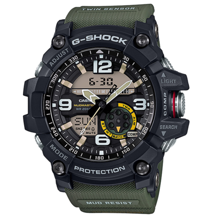 Casio G-Shock GG-1000-1A3 Mudmaster Mens Watch - Green &amp; BlackSport Watches<br>Form ColorArmy Green + BlackModelGG-1000-1A3Quantity1 DX.PCM.Model.AttributeModel.UnitShade Of ColorGreenCasing MaterialResinWristband MaterialResinSuitable forAdultsGenderMenStyleWrist WatchTypeSports watchesDisplayDigitalMovementQuartzDisplay Format12/24 hour time formatWater ResistantOthers,200mDial Diameter53.9 DX.PCM.Model.AttributeModel.UnitDial Thickness20.4 DX.PCM.Model.AttributeModel.UnitWristband Length220 DX.PCM.Model.AttributeModel.UnitBand Width21.7 DX.PCM.Model.AttributeModel.UnitBatteryCR2032Other FeaturesMineral Glass<br>Neobrite<br>Shock Resistant<br>Mud Resistant<br>200-meter water resistance<br>Case / bezel material: Resin / Stainless steel<br>Resin BandPacking List1 x Main device1 x Guide<br>