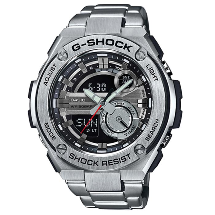 Casio G-Shock GST-210D-1A G-STEEL Series Watch -  SilverSport Watches<br>Form ColorSilverModelGST-210D-1AQuantity1 DX.PCM.Model.AttributeModel.UnitShade Of ColorSilverCasing MaterialStainless steelWristband MaterialStainless steelSuitable forAdultsGenderUnisexStyleWrist WatchTypeSports watchesDisplayAnalog + DigitalMovementDigitalDisplay Format12/24 hour time formatWater ResistantOthers,200mDial Diameter59.1 DX.PCM.Model.AttributeModel.UnitDial Thickness16.1 DX.PCM.Model.AttributeModel.UnitWristband Length210 DX.PCM.Model.AttributeModel.UnitBand Width24.7 DX.PCM.Model.AttributeModel.UnitBatterySR927W * 2Other FeaturesShock Resistant<br>200M Water Resistant<br>Magnetic ResistantPacking List1 * Main device1 * Guide<br>