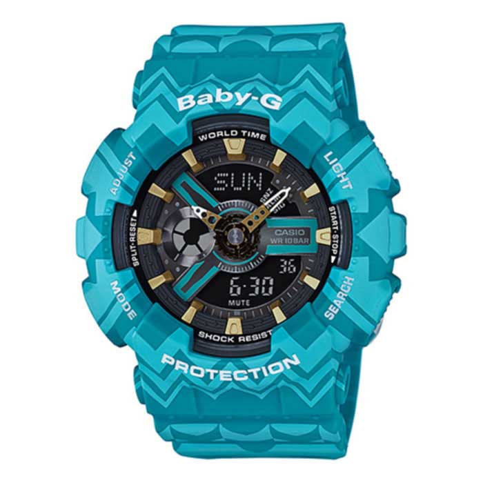 Casio Baby-G BA-110TP-2A Tribal Pattern Series Watch - Blue + GoldSport Watches<br>Form ColorBlue + GoldenModelBA-110TP-2AQuantity1 DX.PCM.Model.AttributeModel.UnitShade Of ColorBlueCasing MaterialResinWristband MaterialResinSuitable forAdultsGenderWomenStyleWrist WatchTypeFashion watchesDisplayAnalog + DigitalMovementDigitalDisplay Format12/24 hour time formatWater ResistantWater Resistant 10 ATM or 100 m. Suitable for recreational surfing, swimming, snorkeling, sailing and water sports.Dial Diameter45 DX.PCM.Model.AttributeModel.UnitDial Thickness15.8 DX.PCM.Model.AttributeModel.UnitWristband Length215 DX.PCM.Model.AttributeModel.UnitBand Width21.7 DX.PCM.Model.AttributeModel.UnitBattery2 * SR726WOther FeaturesMineral Glass; <br>Shock Resistant; <br>100-meter water resistance; <br>Case / bezel material: Resin; <br>Resin BandPacking List1 * Main device1 * Guide<br>