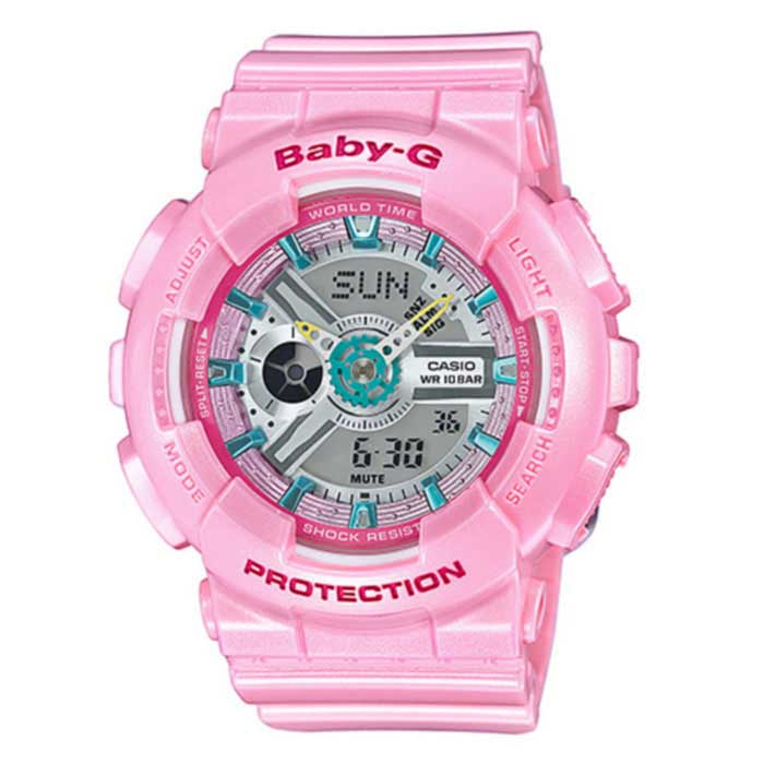 Casio G-Shock BA-110CA-4A Ladies Baby-G Watch -  PinkSport Watches<br>Form ColorPinkModelBA-110CA-4AQuantity1 DX.PCM.Model.AttributeModel.UnitShade Of ColorPinkCasing MaterialResinWristband MaterialResinSuitable forAdultsGenderWomenStyleWrist WatchTypeFashion watchesDisplayAnalog + DigitalMovementDigitalDisplay Format12/24 hour time formatWater ResistantWater Resistant 10 ATM or 100 m. Suitable for recreational surfing, swimming, snorkeling, sailing and water sports.Dial Diameter45 DX.PCM.Model.AttributeModel.UnitDial Thickness15.8 DX.PCM.Model.AttributeModel.UnitWristband Length215 DX.PCM.Model.AttributeModel.UnitBand Width21.7 DX.PCM.Model.AttributeModel.UnitBatterySR726W ? 2Other FeaturesMineral Glass<br>Shock Resistant<br>100-meter water resistance<br>Case / bezel material: Resin<br>Resin BandPacking List1 x Main device1 x Guide<br>