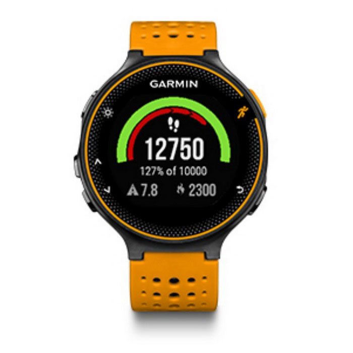 GARMIN Forerunner 235 - Orange - English VersionSmart Bracelets<br>Form  ColorOrange + Black + Multi-ColoredModelGARMIN Forerunner 235Quantity1 DX.PCM.Model.AttributeModel.UnitMaterialrubberShade Of ColorOrangeWater-proofYesBluetooth VersionBluetooth V4.0Touch Screen TypeNoOperating SystemAndroid 4.3,iOSCompatible OSAndroid,IOSBattery CapacityN/A DX.PCM.Model.AttributeModel.UnitBattery TypeLi-polymer batteryStandby Time1.5 DX.PCM.Model.AttributeModel.UnitOther FeaturesCompatible OS: Android,IOS <br> Compatability: Android 4.3 / iOS 7.0 and above system <br> Language: EnglishPacking ListPackage Contents: 1 x Garmin Forerunner 235 Running Smart Watch1 x English User Manual1 x Charging Cable<br>