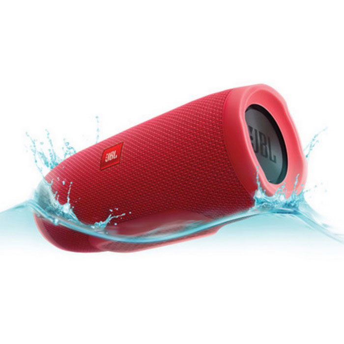 JBL Charge 3 - Portable Bluetooth speaker - RedBluetooth Speakers<br>Form ColorRedModelJBL Charge 3MaterialPlastic + MetalQuantity1 DX.PCM.Model.AttributeModel.UnitShade Of ColorRedBluetooth HandsfreeYesBluetooth VersionOthers,4.1Operating Range30 feetTotal Power2X10 DX.PCM.Model.AttributeModel.UnitInterface3.5mmMicrophoneYesSNRN/ASensitivityN/AFrequency Response65Hz-20kHzImpedanceN/A DX.PCM.Model.AttributeModel.UnitApplicable ProductsOthers,Apple iPod/iPhone/iPad, Android smartphone/tablet, Windows PC/Phone, Mac computer/laptopRadio TunerNoBuilt-in Battery Capacity 6000 DX.PCM.Model.AttributeModel.UnitBattery TypeLi-polymer batteryTalk Time20 DX.PCM.Model.AttributeModel.UnitStandby Time20 DX.PCM.Model.AttributeModel.UnitMusic Play Time20 HoursPower AdapterUSBPower Supply22.2WhOther FeaturesBluetooth - Wirelessly connect up to 3 smartphones or tablets to the speaker and take turns playing powerful stereo sound.<br>Built-in rechargeable Li-ion battery supports up to 20 hours of playtime and charges smartphones and tablets via USB.<br>IPX7 Waterproof<br>Take crystal clear calls from your speaker with the touch of a button thanks to the noise and echo-cancelling speakerphone.<br>Build your own ecosystem by connecting multiple JBL Connect enabled speakers together to amplify the listening experience.<br>JBL Connect App: Use the JBL Connect App (for Apple iOS 7+ or Android OS 4.3+) to wirelessly link two JBL Connect enabled speakers, like the JBL Charge 3, together for amplified sound. USB Charging (5V/2A): The JBL Charge 3 is capable of recharging the battery of your Bluetooth-enabled device from the speakers built-in USB-A (5V/2.0A) port. Now you dont need to carry an extra charger to keep your devices powered up. This USB port does not support audio playback.<br>Rechargeable Battery: The JBL Charge 3 stereo speaker has a built-in, 3.7V/6000mAh Li-ion rechargeable battery that provides more than 20 hours of playback time on a single charge. The battery is easily recharged from the speakers built-in USB port, using the included AC power adapter or a free USB port on your computer. A full battery charge takes approximately 4.5 hours. The AC power adapter can also be used to power the speaker.Packing List1 x JBL Charge 31 x 5V 2.3A USB Adapter1 x Micro USB Cable1 x Safety Sheet1 x Quick Start Guide1 x Warranty Card<br>