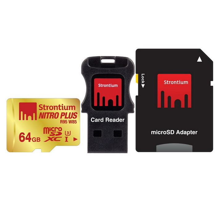Strontium Nitro Plus SRP64GTFU1C 64GB Micro SD + Adapter + Card ReaderMicroSD TF Cards<br>Capacity64GBSpeed ClassUHS-IModelSRP64GTFU1CMaterialPlastic + metalForm  ColorBlackQuantity1 setMax Read Speed95MB/SMax Write Speed85MB/SOverwrite Protection SwitchYesBrandOthers,N/ACapacity64GBPacking List1 * Micro SD card1 * SD card adapter 1 * USB 2.0 card reader<br>