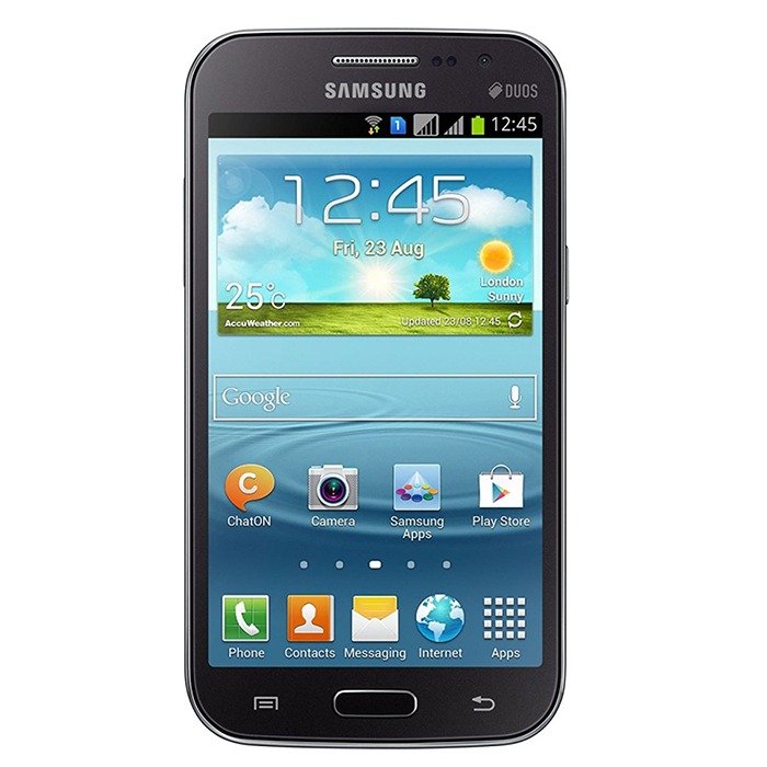 Samsung Galaxy WIN i8552 1GB RAM 8GB ROM - Titan GrayAndroid Phones<br>Form ColorGreyRAM1GBROM8GBBrandSamsungModelGalaxy WIN i8552Quantity1 DX.PCM.Model.AttributeModel.UnitMaterialplastic + glassShade Of ColorGrayPower AdapterUSBNetwork Type2G,3GBand DetailsGSM850, GSM900, GSM1800, GSM1900, UMTS900 (B8), UMTS1900 (B2), UMTS2100 (B1)Data TransferGPRS,HSDPA,EDGE,HSUPANetwork ConversationOne-Party Conversation OnlyWLAN Wi-Fi 802.11 b,g,nSIM Card TypeMicro SIMSIM Card Quantity2Network StandbyDual Network StandbyGPSYesBluetooth VersionBluetooth V3.0Operating SystemAndroid 4.1CPU ProcessorQualcamm Snapdragon 200 MSM8625QCPU Core QuantityQuad-CoreLanguagenot specifyAvailable Memory4.7 GBMemory CardmicroSDMax. Expansion Supported32GBSize Range4.5~4.9 inchesTouch Screen TypeTFTScreen Resolution800*480Screen Size ( inches)4.7Camera Pixel5.0MPFront Camera Pixels0.3 DX.PCM.Model.AttributeModel.UnitVideo Recording Resolution720 x 480FlashYesAuto FocusYesTouch FocusYesTalk Time660 DX.PCM.Model.AttributeModel.UnitStandby Time210 DX.PCM.Model.AttributeModel.UnitBattery Capacity2000 DX.PCM.Model.AttributeModel.UnitBattery ModeNon-removablefeaturesWi-Fi,GPS,BluetoothSensorAccelerometer,GestureWaterproof LevelIPX0 (Not Protected)I/O InterfaceMicro USB v2.0Format SupportedYesReference Websites== Will this mobile phone work with a certain mobile carrier of yours? ==Packing List1 * Galaxy WIN i85521 * Battery1 * USB cable1 * US power adapter1 * Earphone<br>