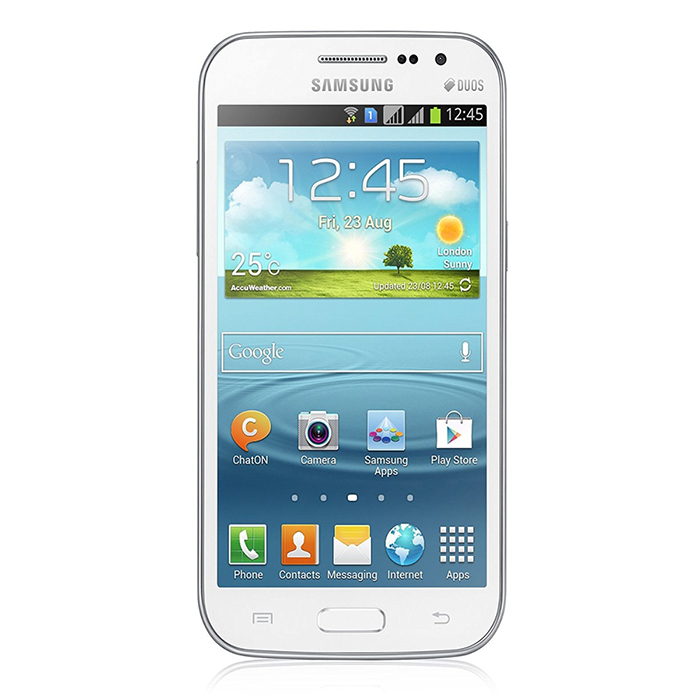 Samsung Galaxy WIN i8552 1GB RAM 8GB ROM - WhiteAndroid Phones<br>Form ColorWhiteRAM1GBROM8GBBrandSamsungModelGalaxy WIN i8552Quantity1 DX.PCM.Model.AttributeModel.UnitMaterialplastic + glassShade Of ColorWhitePower AdapterUSBNetwork Type2G,3GBand DetailsGSM850, GSM900, GSM1800, GSM1900, UMTS900 (B8), UMTS1900 (B2), UMTS2100 (B1)Data TransferGPRS,HSDPA,EDGE,HSUPANetwork ConversationOne-Party Conversation OnlyWLAN Wi-Fi 802.11 b,g,nSIM Card TypeMicro SIMSIM Card Quantity2Network StandbyDual Network StandbyGPSYesBluetooth VersionBluetooth V3.0Operating SystemAndroid 4.1CPU ProcessorQualcamm Snapdragon 200 MSM8625QCPU Core QuantityQuad-CoreLanguagenot specifyAvailable Memory4.7 GBMemory CardmicroSDMax. Expansion Supported32GBSize Range4.5~4.9 inchesTouch Screen TypeTFTScreen Resolution800*480Screen Size ( inches)4.7Camera Pixel5.0MPFront Camera Pixels0.3 DX.PCM.Model.AttributeModel.UnitVideo Recording Resolution720 * 480FlashYesAuto FocusYesTouch FocusYesTalk Time11 DX.PCM.Model.AttributeModel.UnitStandby Time210 DX.PCM.Model.AttributeModel.UnitBattery Capacity2000 DX.PCM.Model.AttributeModel.UnitBattery ModeReplacementfeaturesWi-Fi,GPS,BluetoothSensorAccelerometer,GestureWaterproof LevelIPX0 (Not Protected)I/O InterfaceMicro USB v2.0Format SupportedYesReference Websites== Will this mobile phone work with a certain mobile carrier of yours? ==Packing List1 * Galaxy WIN i85521 * Battery1 * USB cable1 * US power adapter1 * Earphone<br>