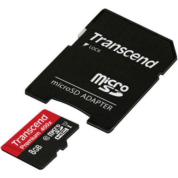 Transcend Premium 400x Micro SDHC 8GB + Adapter TS8GUSDU1MicroSD TF Cards<br>Capacity8GBSpeed ClassUHS-IModelTS8GUSDU1MaterialMicroSDForm  ColorOthers,Red + BlackQuantity1 setMax Read Speed60MB/sMax Write Speed20MB/sOverwrite Protection SwitchYesBrandTranscendCapacity8GBSpeed ClassUHS-IPacking List1 * MicroSD1 * SD Adapter<br>