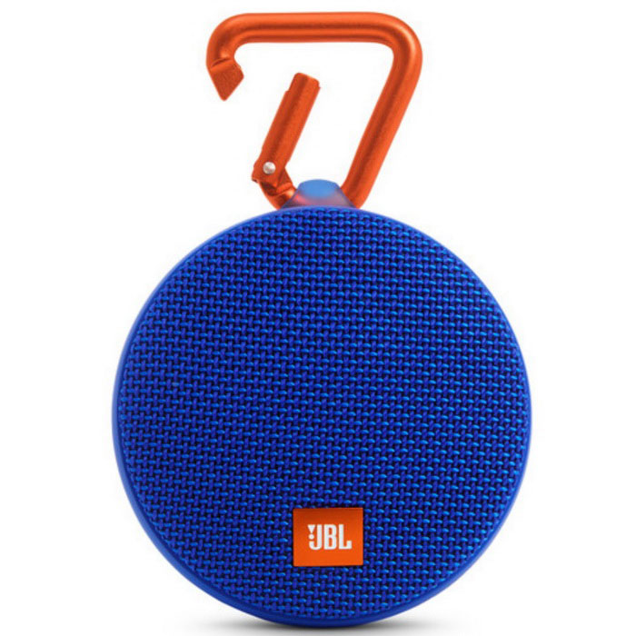 JBL Clip 2 Waterproof Portable Bluetooth Speaker - BlueBluetooth Speakers<br>Form  ColorBlueModelClip 2MaterialPlastic + MetalQuantity1 setShade Of ColorBlueBluetooth HandsfreeYesBluetooth VersionOthers,Bluetooth v4.1Operating Range10mTotal Power3 WInterfaceOthers,3.5mm (AUX) and micro-USBFrequency Response120Hz~20KHzApplicable ProductsUniversalBuilt-in Battery Capacity 730 mAhBattery TypeLi-ion batteryTalk Time8 hoursStandby Time400 hoursMusic Play Time5 hourPower AdapterUSBPacking List1 x JBL Clip 21 x Micro USB cable for charging1 x Quick start guide<br>