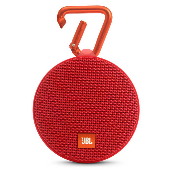 JBL Clip 2 Waterproof Portable Bluetooth Speaker - RedBluetooth Speakers<br>Form ColorRedModelClip 2MaterialPlastic + MetalQuantity1 DX.PCM.Model.AttributeModel.UnitShade Of ColorRedBluetooth HandsfreeYesBluetooth VersionOthers,Bluetooth v4.1Operating Range10mTotal Power3 DX.PCM.Model.AttributeModel.UnitInterfaceOthers,3.5mm (AUX) and micro-USBFrequency Response120 Hz20 kHzApplicable ProductsUniversalBuilt-in Battery Capacity 730 DX.PCM.Model.AttributeModel.UnitBattery TypeLi-ion batteryTalk Time8 DX.PCM.Model.AttributeModel.UnitStandby Time400 DX.PCM.Model.AttributeModel.UnitMusic Play Time5Power AdapterUSBPacking List1 x JBL Clip 21 x Micro USB cable for charging1 x Quick start guide<br>