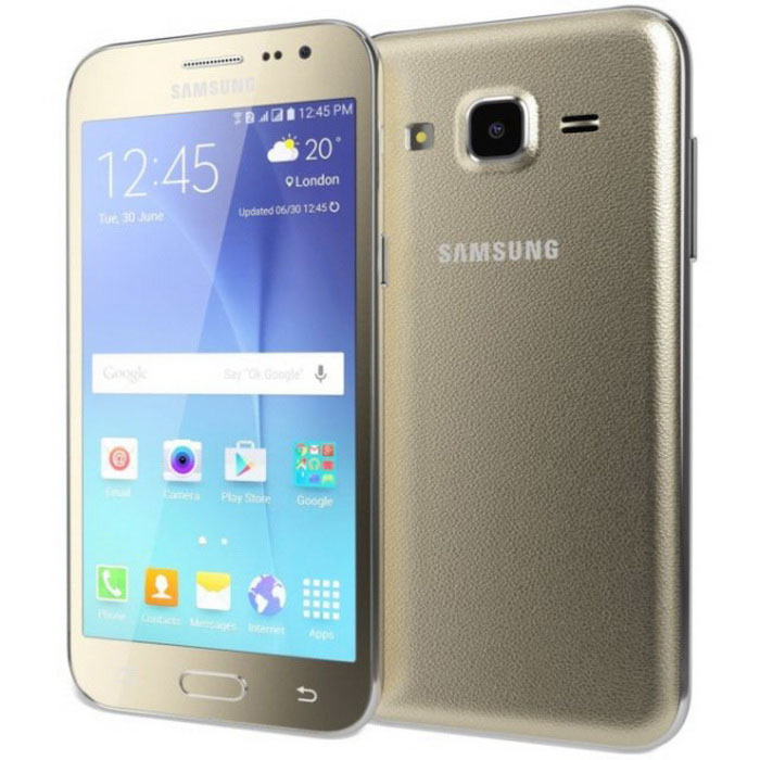 SAMSUNG Galaxy J2 J200GU 1GB RAM 8GB ROM Dual SIM - GoldAndroid Phones<br>Form ColorGoldenRAM1GBROM8GBBrandSamsungModelJ200GUQuantity1 DX.PCM.Model.AttributeModel.UnitMaterialmetal + glassShade Of ColorGoldPower AdapterUSBNetwork Type2G,3G,4GBand DetailsGSM850, GSM900, GSM1800, GSM1900, UMTS850 (B5), UMTS900 (B8), UMTS1900 (B2), UMTS2100 (B1), LTE2100 (B1), LTE850 (B5), LTE1700/2100 (B4), LTE1800 (B3), LTE2600 (B7)Data TransferGPRS,HSDPA,EDGE,LTE,HSUPANetwork ConversationOne-Party Conversation OnlyWLAN Wi-Fi 802.11 b,g,nSIM Card TypeMicro SIMSIM Card Quantity2Network StandbyDual Network StandbyGPSA-GPSNFCYesBluetooth VersionBluetooth V4.1Operating SystemAndroid 5.1CPU ProcessorExynos 3475 Quad (Quad-core 1.3 GHz Cortex-A7)CPU Core QuantityQuad-CoreGPUMali-T720Languagenot specifyAvailable Memory4.4GBMemory CardmicroSDMax. Expansion Supported256GBSize Range4.5~4.9 inchesTouch Screen TypeYesScreen ResolutionOthers,540*960Screen Size ( inches)4.7Camera Pixel5.0MPFront Camera Pixels2 DX.PCM.Model.AttributeModel.UnitVideo Recording Resolution720p@30fpsFlashYesAuto FocusYesTouch FocusYesOther Camera FeaturesGeo-tagging, face detectionTalk Time11 DX.PCM.Model.AttributeModel.UnitStandby Time200 DX.PCM.Model.AttributeModel.UnitBattery Capacity2000 DX.PCM.Model.AttributeModel.UnitfeaturesWi-Fi,GPS,FM,Bluetooth,NFCSensorProximity,AccelerometerWaterproof LevelIPX0 (Not Protected)I/O InterfaceMicro USB v2.0JAVANoRadio TunerFMReference Websites== Will this mobile phone work with a certain mobile carrier of yours? ==Packing List1 * J200GU1 * USB cable1 * Charger1 * user menu<br>