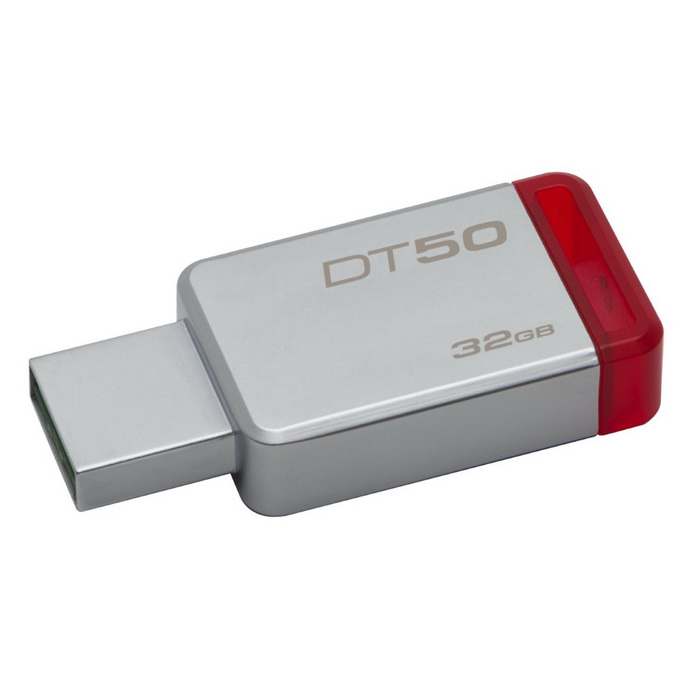 Kingston 32GB DataTraveler 50 USB3.0 (DT50/32GB)?128GB USB Flash Drives<br>Form ColorSilver + RedCapacity32GBModelDT50/32GBMaterialUSBQuantity1 DX.PCM.Model.AttributeModel.UnitShade Of ColorSilverMax Read Speed110MB/sMax Write Speed15MB/sUSBUSB 3.0With IndicatorNoPacking List1 x USB<br>