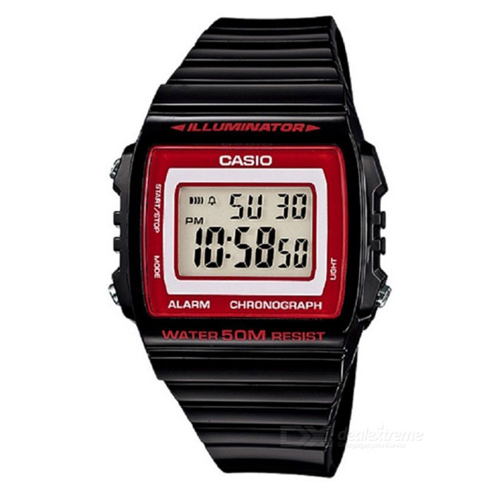 CASIO W-215H-1A2VDF Mens Wristwatch - Black + Red (Without Box)Sport Watches<br>Form  ColorBlack + RedModelW-215H-1A2VDFQuantity1 DX.PCM.Model.AttributeModel.UnitShade Of ColorRedCasing MaterialPlasticWristband MaterialPlasticSuitable forAdultsGenderMenStyleWrist WatchTypeCasual watchesDisplayDigitalMovementQuartzDisplay Format12/24 hour time formatWater ResistantWater Resistant 5 ATM or 50 m. Suitable for swimming, white water rafting, non-snorkeling water related work, and fishing.Dial Diameter4.4 DX.PCM.Model.AttributeModel.UnitDial Thickness1.1 DX.PCM.Model.AttributeModel.UnitWristband Length22 DX.PCM.Model.AttributeModel.UnitBand Width2.7 DX.PCM.Model.AttributeModel.UnitBatterynot specifyOther FeaturesLight, Chronograph, TimerPacking List1 * W-215H-1A2VDF<br>