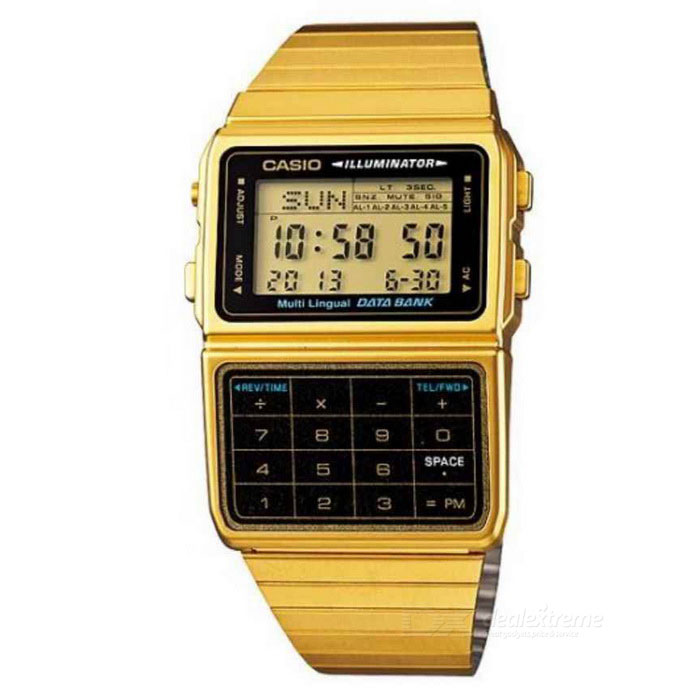 Casio DBC-611G-1DF Databank Calculator Watch-Gold+Black (Without Box)Quartz Watches<br>Form  ColorGoldenModelDBC-611G-1DFQuantity1 DX.PCM.Model.AttributeModel.UnitShade Of ColorGoldCasing MaterialSteelWristband MaterialSteelSuitable forAdultsGenderMenStyleWrist WatchTypeFashion watchesDisplayDigitalMovementDigitalDisplay Format12/24 hour time formatWater ResistantFor daily wear. Suitable for everyday use. Wearable while water is being splashed but not under any pressure.Dial Diameter4.8 DX.PCM.Model.AttributeModel.UnitDial Thickness0.87 DX.PCM.Model.AttributeModel.UnitWristband Length22 DX.PCM.Model.AttributeModel.UnitBand Width2.8-4.5 DX.PCM.Model.AttributeModel.UnitBatteryNot SpecifyPacking List1 * DBC-611G-1DF<br>