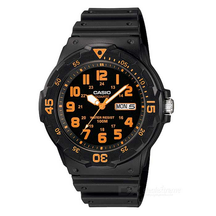 CASIO MRW-200H-4BVDF Mens Analog Watch - Black + Orange (Without Box)Sport Watches<br>Form ColorBlack + OrangeModelMRW-200H-4BVDFQuantity1 DX.PCM.Model.AttributeModel.UnitShade Of ColorBlackCasing MaterialResinWristband MaterialResinSuitable forAdultsGenderMenStyleWrist WatchTypeCasual watchesDisplayAnalogMovementQuartzDisplay Format12/24 hour time formatWater ResistantWater Resistant 10 ATM or 100 m. Suitable for recreational surfing, swimming, snorkeling, sailing and water sports.Dial Diameter4.5 DX.PCM.Model.AttributeModel.UnitDial Thickness1.16 DX.PCM.Model.AttributeModel.UnitWristband Length22 DX.PCM.Model.AttributeModel.UnitBand Width2.2 DX.PCM.Model.AttributeModel.UnitBatterySR626SWPacking List1 * MRW-200H-4BVDF<br>