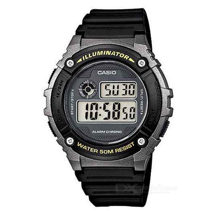 Casio W-216H-1B Digital Stopwatch Alarm Watch (Without Box)Quartz Watches<br>Form ColorBlack + Iron Grey + Multi-ColoredModelW-216H-1BVDFQuantity1 DX.PCM.Model.AttributeModel.UnitShade Of ColorBlackCasing MaterialplasticWristband MaterialplasticSuitable forAdultsGenderMenStyleWrist WatchTypeSports watchesDisplayDigitalMovementQuartzDisplay Format12/24 hour time formatWater ResistantWater Resistant 5 ATM or 50 m. Suitable for swimming, white water rafting, non-snorkeling water related work, and fishing.Dial Diameter4.6 DX.PCM.Model.AttributeModel.UnitDial Thickness1.1 DX.PCM.Model.AttributeModel.UnitWristband Length23 DX.PCM.Model.AttributeModel.UnitBand Width2.5 DX.PCM.Model.AttributeModel.UnitBatteryCR2016Packing ListW-216H-1BVDF X 1<br>