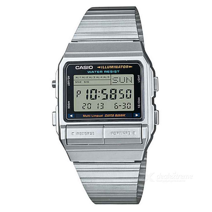Casio DB-380-1DF DataBank Vintage Watch - Silver (Without Box)Quartz Watches<br>Form  ColorSilverModelDB-380-1DFQuantity1 DX.PCM.Model.AttributeModel.UnitShade Of ColorSilverCasing MaterialSteelWristband MaterialSteelSuitable forAdultsGenderUnisexStyleWrist WatchTypeFashion watchesDisplayDigitalMovementDigitalDisplay Format12/24 hour time formatWater ResistantFor daily wear. Suitable for everyday use. Wearable while water is being splashed but not under any pressure.Dial Diameter3.96 DX.PCM.Model.AttributeModel.UnitDial Thickness0.86 DX.PCM.Model.AttributeModel.UnitWristband Length23 DX.PCM.Model.AttributeModel.UnitBand Width2.5 DX.PCM.Model.AttributeModel.UnitBatteryCR1616Packing List1 * DB-380-1DF<br>