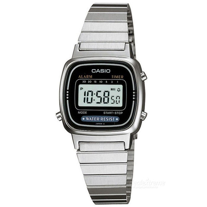 Casio LA670WA-1DF Women Digital Watch - Silver / Black (Without Box)Quartz Watches<br>Form ColorSilver + Black + Multi-ColoredModelLA670WA-1DFQuantity1 DX.PCM.Model.AttributeModel.UnitShade Of ColorSilverCasing MaterialMetalWristband MaterialMetalSuitable forAdultsGenderWomenStyleWrist WatchTypeCasual watchesDisplayDigitalMovementQuartzDisplay Format12/24 hour time formatWater ResistantWater Resistant 3 ATM or 30 m. Suitable for everyday use. Splash/rain resistant. Not suitable for showering, bathing, swimming, snorkelling, water related work and fishing.Dial Diameter29 DX.PCM.Model.AttributeModel.UnitDial Thickness0.75 DX.PCM.Model.AttributeModel.UnitWristband Length20 DX.PCM.Model.AttributeModel.UnitBand Width1 DX.PCM.Model.AttributeModel.UnitBatteryCoin Cell BetteryPacking List1 * LA670WA-1DF Watch<br>