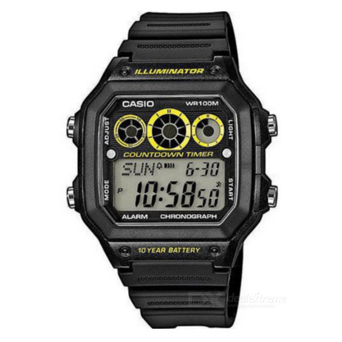 Casio AE-1300WH-1AVDF Digital Alarm Watch - Black/Yellow (Without Box)Quartz Watches<br>Form ColorBlack + Yellow + Multi-ColoredModelAE-1300WH-1AVDFQuantity1 DX.PCM.Model.AttributeModel.UnitShade Of ColorBlackCasing MaterialResinWristband MaterialResinSuitable forAdultsGenderMenStyleWrist WatchTypeSports watchesDisplayDigitalMovementQuartzDisplay Format12/24 hour time formatWater ResistantWater Resistant 10 ATM or 100 m. Suitable for recreational surfing, swimming, snorkeling, sailing and water sports.Dial Diameter4.5 DX.PCM.Model.AttributeModel.UnitDial Thickness1.25 DX.PCM.Model.AttributeModel.UnitWristband Length22 DX.PCM.Model.AttributeModel.UnitBand Width18 DX.PCM.Model.AttributeModel.UnitBatteryCR2025Packing List1 * AE-1300WH-1AVDF<br>