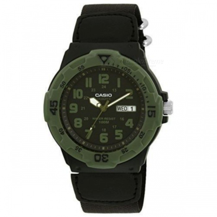 Casio MRW-200HB-1BVDF Analogue Quartz Watch- Black+Green (Without Box)Quartz Watches<br>Form  ColorBlack + Army GreenModelMRW-200HB-1BVDFQuantity1 DX.PCM.Model.AttributeModel.UnitShade Of ColorBlackCasing MaterialResinWristband MaterialResinSuitable forAdultsGenderUnisexStyleWrist WatchTypeSports watchesDisplayAnalogMovementQuartzDisplay Format12 hour formatWater ResistantWater Resistant 10 ATM or 100 m. Suitable for recreational surfing, swimming, snorkeling, sailing and water sports.Dial Diameter4.8 DX.PCM.Model.AttributeModel.UnitDial Thickness4.5 DX.PCM.Model.AttributeModel.UnitWristband Length20 DX.PCM.Model.AttributeModel.UnitBand Width1.9 DX.PCM.Model.AttributeModel.UnitBatterySR626SWPacking List1 * MRW-200HB-1BVDF<br>