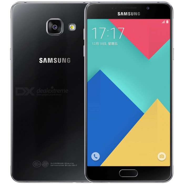 Samsung Galaxy A7 SM-A7100 Dual SIM Phone w/ 3GB RAM 16GB ROM - BlackAndroid Phones<br>Form  ColorBlackRAM3GBROM16GBBrandSamsungModelSM-A7100Quantity1 DX.PCM.Model.AttributeModel.UnitMaterialMetalShade Of ColorBlackTypeBrand NewPower AdapterUK PlugNetwork Type2G,3G,4GBand DetailsGSM850/900/1800/1900MHz; CDMA800MHz; UTS850/900/1900/2100MHz; LTE2100/1800/2600MHz; TD-SCDMA2000/1900MHz; TD-LTE2500/2600/2300/1900MHzData TransferGPRS,HSDPA,EDGE,LTE,HSUPAWLAN Wi-Fi 802.11 a,b,g,n,Others,dual-band, WiFi Direct, hotspotSIM Card TypeNano SIMSIM Card Quantity2Network StandbyDual Network StandbyGPSYesNFCYesInfrared PortYesBluetooth VersionBluetooth V4.1Operating SystemOthers,Android OS, v5.1.1 (Lollipop), upgradable to v6.0.1 (Marshmallow)CPU ProcessorSamsung Exynos 7 Octa 7580, 2015, 64 bit, Octa-core 1.5 GHz Cortex-A53, 28 nmCPU Core QuantityOcta-CoreGPUARM Mali-T720 GPULanguage-Available Memory-Memory CardmicroSDMax. Expansion Supported256 GBSize Range5.5 inches &amp; OverTouch Screen TypeCapacitive ScreenScreen Resolution1920*1080Screen Size ( inches)5.5Screen Edge2.5D Curved EdgeCamera Pixel13.0MPFront Camera Pixels5 DX.PCM.Model.AttributeModel.UnitVideo Recording Resolution1080p@30fpsFlashYesAuto FocusYesTouch FocusYesOther Camera FunctionsPrimary camera<br>13 MP, f/1.9, 28mm, OIS, autofocus, LED flash, check quality;<br>Geo-tagging, touch focus, face detection, panorama, HDR.<br>Secondary<br>5 MP, f/1.9, 24mm, 1080p.Talk Time17 DX.PCM.Model.AttributeModel.UnitStandby Time- DX.PCM.Model.AttributeModel.UnitBattery Capacity3300 DX.PCM.Model.AttributeModel.UnitBattery ModeNon-removablefeaturesWi-Fi,GPS,FM,Bluetooth,NFCSensorG-sensor,Proximity,Compass,Accelerometer,Fingerprint authentication sensor,Others,Light intensity sensor, Fingerprint sensorWaterproof LevelIPX0 (Not Protected)I/O InterfaceMini USB,SIM Slot,Micro USB v2.0,Others,Micro SD cardFormat SupportedMP3/M4A/3GA/AAC/OGG/OGA/WAV/WMA/AMR/AWB/FLAC/MID/MIDI/XMF/MXMF/IMY/RTTTL/RTX/OTA; MP4/M4V/3GP/3G2/WMV/ASF/AVI/FLV/MKV/WEBM; JPEG/PNG/GIF/BMPJAVANoRadio TunerFMOther Features- Fast battery charging<br>- ANT+ support<br>- MP4/WMV/H.264 player<br>- MP3/WAV/WMA/eAAC+/FLAC player<br>- Photo/video editor<br>- Document viewerReference Websites== Will this mobile phone work with a certain mobile carrier of yours? ==Packing List1 * Smartphone1 * Power adapter1 * USB charging cable1 * SIM tool1 * User manual<br>