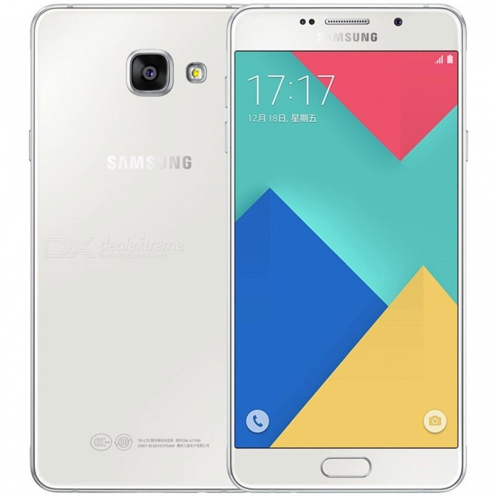 Samsung Galaxy A7 SM-A7100 Dual SIM Phone w/ 3GB RAM 16GB ROM - WhiteAndroid Phones<br>Form  ColorWhiteRAM3GBROM16GBBrandSamsungModelSM-A7100Quantity1 DX.PCM.Model.AttributeModel.UnitMaterial1Shade Of ColorWhiteTypeBrand NewPower AdapterUK PlugNetwork Type2G,3G,4GBand DetailsGSM850/900/1800/1900MHz; CDMA800MHz; UTS850/900/1900/2100MHz; LTE2100/1800/2600MHz; TD-SCDMA2000/1900MHz; TD-LTE2500/2600/2300/1900MHzData TransferGPRS,HSDPA,EDGE,LTE,HSUPAWLAN Wi-Fi 802.11 a,b,g,n,Others,dual-band, WiFi Direct, hotspotSIM Card TypeNano SIMSIM Card Quantity2Network StandbyDual Network StandbyGPSYesNFCYesInfrared PortYesBluetooth VersionBluetooth V4.1Operating SystemOthers,Android OS, v5.1.1 (Lollipop), upgradable to v6.0.1 (Marshmallow)CPU ProcessorSamsung Exynos 7 Octa 7580, 2015, 64 bit, Octa-core 1.5 GHz Cortex-A53, 28 nmCPU Core QuantitySingle CoreGPUARM Mali-T720 GPULanguage-Available Memory-Max. Expansion Supported256 GBSize Range5.5 inches &amp; OverTouch Screen TypeCapacitive ScreenScreen Resolution1920*1080Screen Size ( inches)5.5Screen Edge2.5D Curved EdgeCamera Pixel13.0MPFront Camera Pixels5 DX.PCM.Model.AttributeModel.UnitVideo Recording Resolution1080p@30fpsFlashYesAuto FocusYesTouch FocusYesOther Camera FunctionsPrimary camera<br>13 MP, f/1.9, 28mm, OIS, autofocus, LED flash, check quality;<br>Geo-tagging, touch focus, face detection, panorama, HDR.<br>Secondary<br>5 MP, f/1.9, 24mm, 1080p.Talk Time17 DX.PCM.Model.AttributeModel.UnitStandby Time- DX.PCM.Model.AttributeModel.UnitBattery Capacity3300 DX.PCM.Model.AttributeModel.UnitBattery ModeNon-removablefeaturesWi-FiSensorG-sensor,Proximity,Compass,Accelerometer,Fingerprint authentication sensor,Others,Light intensity sensor, Fingerprint sensorWaterproof LevelIPX0 (Not Protected)I/O InterfaceMini USB,SIM Slot,Micro USB v2.0,Others,micro SD cardFormat SupportedMP3/M4A/3GA/AAC/OGG/OGA/WAV/WMA/AMR/AWB/FLAC/MID/MIDI/XMF/MXMF/IMY/RTTTL/RTX/OTA; MP4/M4V/3GP/3G2/WMV/ASF/AVI/FLV/MKV/WEBM; JPEG/PNG/GIF/BMPOther Features- Fast battery charging<br>- ANT+ support<br>- MP4/WMV/H.264 player<br>- MP3/WAV/WMA/eAAC+/FLAC player<br>- Photo/video editor<br>- Document viewerReference Websites== Will this mobile phone work with a certain mobile carrier of yours? ==Packing List1 * Smartphone1 * Power adapter1 * USB charging cable1 * SIM tool1 * User manual<br>