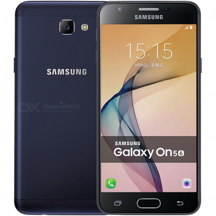 Samsung Galaxy On5 (2016) SM-G5700 Dual SIM Phone w/ 3GB RAM 32GB ROMAndroid Phones<br>Form  ColorBlackRAM3GBROM32GBBrandSamsungModelSM-G5700Quantity1 DX.PCM.Model.AttributeModel.UnitMaterialMetalShade Of ColorBlackPower AdapterUS PlugsNetwork Type2G,3G,4GBand DetailsGSM850/900/1800/1900MHz; CDMA800MHz; UMTS850/900/1900/2100MHz; LTE2100/1800/2600/900MHz; TD-SCDMA2000/1900MHz; TD-LTE2500/2600/2300/1900MHzData TransferGPRS,HSDPA,EDGE,LTE,HSUPAWLAN Wi-Fi 802.11 b,g,n,Others,Wi-Fi Direct, hotspotSIM Card TypeNano SIMSIM Card Quantity2Network StandbyDual Network StandbyGPSYesNFCNoInfrared PortNoBluetooth VersionBluetooth V4.1Operating SystemOthers,Google Android 6.0.1 (Marshmallow)Google Android 6.0.1 (Marshmallow)CPU ProcessorQualcomm Snapdragon 617 MSM8952, 2015, 64 bit, Octa-Core 15.2Ghz, 28 nmCPU Core QuantityOcta-CoreGPUQualcomm Adreno 405Language-Available Memory25.3 GBMemory CardmicroSDMax. Expansion Supported256GBSize Range5.0~5.4 inchesTouch Screen TypeYesScreen Resolution1280*720Screen Size ( inches)5.0Camera Pixel13.0MPFront Camera Pixels8 DX.PCM.Model.AttributeModel.UnitVideo Recording Resolution1080p@30fpsFlashYesAuto FocusYesTouch FocusYesOther Camera FunctionsPrimary Camera: <br>13 MP, autofocus, LED flash;<br>Geo-tagging, touch focus, face detection;<br>Secondary: 8 MPTalk Time- DX.PCM.Model.AttributeModel.UnitStandby Time- DX.PCM.Model.AttributeModel.UnitBattery Capacity2600 DX.PCM.Model.AttributeModel.UnitBattery ModeNon-removablefeaturesWi-Fi,GPS,FM,BluetoothSensorProximity,Accelerometer,Fingerprint authentication sensor,Others,Hall sensorWaterproof LevelIPX0 (Not Protected)I/O Interface3.5mm,SIM Slot,Micro USB v2.0,Others,Micro SD cardFormat SupportedMIDI/MP3/AAC; 3GP/MP4; JPEGJAVANoRadio TunerFMOther Features- MP4/H.264 player<br>- MP3/WAV/eAAC+ player<br>- Photo/video editor<br>- Document viewerReference Websites== Will this mobile phone work with a certain mobile carrier of yours? ==Packing List1 * Smartphone1 * Power adapter1 * USB charging cable1