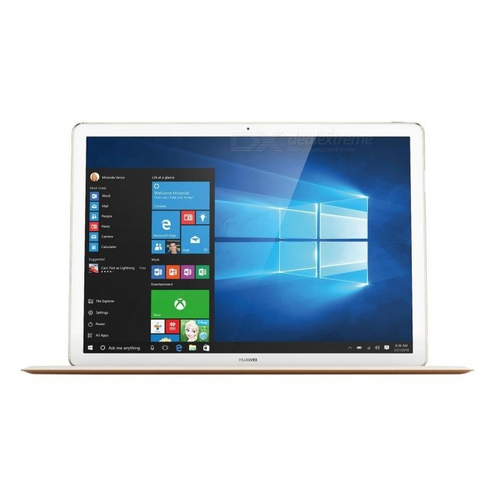Huawei Matebook M3 HZ-W09 4GB RAM 128GB ROM - GoldWindows Tablets<br>Form  ColorGoldenModelHZ-W09Quantity1 DX.PCM.Model.AttributeModel.UnitMaterialmetal + glassShade Of ColorGoldProcessor BrandIntelProcessor ModelOthers,Intel Core M3-6Y30Processor Speed0.9 DX.PCM.Model.AttributeModel.UnitNumber of CoresDual CoreGPUIntel HD Graphics 515RAM/Memory TypeOthers,not specifyBuilt-in Memory / RAM4GBCapacity / ROM128GBScreen Size12 inchesScreen TypeIPSTouch TypeCapacitive screenResolutionOthers,2160 x 14403G TypeOthers,not specify3G FunctionOthers,not specifyGPSNoSupported NetworkWifiWi-Fi StandardOthers,802.11 a/b/g/n/acGravity SensorYesBluetooth VersionOthers,Bluetooth v4.1MicrophoneYesBuilt-in SpeakersYesInterfaceOthers,1 x 3.5mm Earphone Port; 1 x USB Port; 1 x Type CUSB ChargeYesGoogle Play(Android Market)NoCamera1 x CameraFront Camera Pixels5 DX.PCM.Model.AttributeModel.UnitBack Camera PixelsN/A DX.PCM.Model.AttributeModel.UnitPhotoflash LampNoStorage InterfaceOthers,N/AImagesOthers,not specifyE-bookOthers,not specifyVideo FormatsOthers,not specifyExternal Memory Max. SupportNo DX.PCM.Model.AttributeModel.UnitPower AdapterOthers,not specifyTip DiameterOthers,not specifySupported LanguagesOthers,not specifyBattery Capacity4430 DX.PCM.Model.AttributeModel.UnitBattery TypeLi-polymer batteryWorking Time10 DX.PCM.Model.AttributeModel.UnitStandby Time- DX.PCM.Model.AttributeModel.UnitCharging Time- DX.PCM.Model.AttributeModel.UnitPacking List1 * HUAWEI MateBook1 * Power Adaptor1 * USB-C Data Charger Cable1 * USB-C to Micro-USB Cable1 * Micro USB to USB-A Adaptor1 * Safety and Warranty Documents<br>