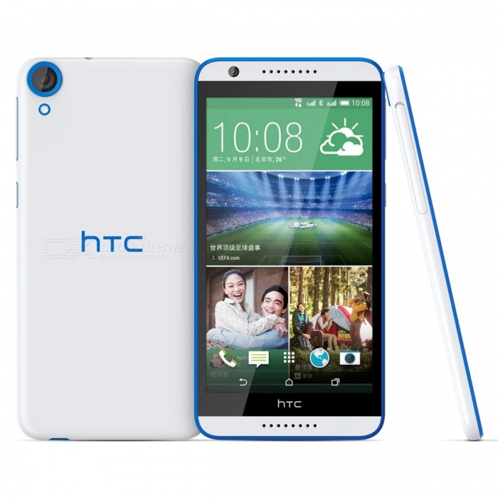 HTC Desire 820S D820S Phone 2GB RAM 16GB ROM Dual SIM - White + BlueAndroid Phones<br>Form  ColorWhiteRAM2GBROM16GBBrandHTCModelDesire 820SQuantity1 DX.PCM.Model.AttributeModel.UnitMaterialAluminum alloyShade Of ColorWhiteTypeBrand NewPower AdapterUK PlugNetwork Type2G,3G,4GBand DetailsGSM 850MHz, GSM 900MHz, GSM 1800MHz, GSM 1900MHz (PCS), UMTS 850MHz (Band V, CLR), UMTS 900MHz (Band VIII), UMTS 1900MHz (Band II, PCS), UMTS 2100MHz (Band I, IMT), LTE 2100 MHz (Band 1), LTE 1800 MHz (Band 3), LTE 2600 MHz (Band 7),  LTE 900 MHz (Band 8), TD-LTE 2500 MHz (Band XLI), TD-LTE 2600 MHz (Band 38), TD-LTE 2300 MHz (Band XL),TD-LTE 1900 MHz (Band 39), LTE 700 MHz (Band 28)Data TransferGPRS,HSDPA,EDGE,LTE,HSUPAWLAN Wi-Fi 802.11 b,g,n,Others,Wi-Fi TetheringSIM Card TypeNano SIMSIM Card Quantity2Network StandbyDual Network StandbyGPSYesBluetooth VersionBluetooth V4.0Operating SystemOthers,Android 4.4.4CPU Processor1690 MHz, MediaTek MT6752, 2014, 64 bit, Cortex-A53CPU Core QuantityOcta-CoreGPUARM Mali-T760LanguageNot specifyAvailable Memory-Memory CardMicro SDSize Range5.5 inches &amp; OverTouch Screen TypeCapacitive ScreenScreen Resolution1280*720MultitouchOthers,YesScreen Size ( inches)5.5Camera Pixel13.0MPFront Camera Pixels5 DX.PCM.Model.AttributeModel.UnitVideo Recording Resolution1920 * 1080 pixel @30 fpsFlashYesAuto FocusContrast Detection AutofocusOther Camera FunctionsMacro modeTalk Time12 DX.PCM.Model.AttributeModel.UnitStandby Time560 DX.PCM.Model.AttributeModel.UnitBattery Capacity2600 DX.PCM.Model.AttributeModel.UnitBattery ModeNon-removablefeaturesWi-Fi,GPS,FM,BluetoothSensorProximity,Compass,Accelerometer,Others,Light intensity sensorWaterproof LevelIPX1I/O Interface3.5mm,Micro USB v2.0Format SupportedMP4 / H.264 / WMV / MP3 / eAAC+ / WMA / WAVJAVANoRadio TunerFMOther FeaturesHTC Sense UI 6.0Reference Websites== Will this mobile phone work with a certain mobile carrier of yours? ==Packing List1 * Phone1 * Cable1 * Power adapter1 * User manual<br>