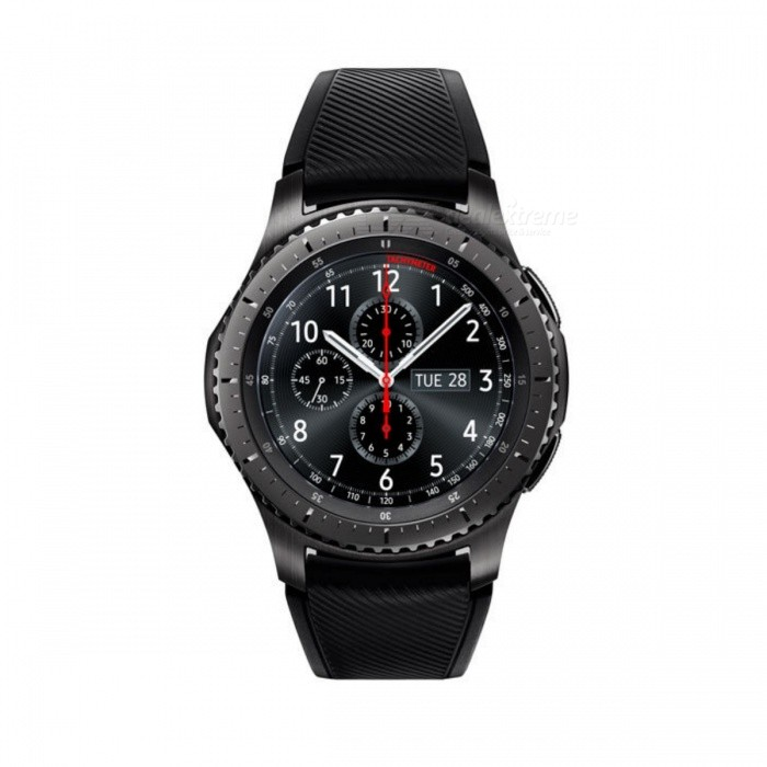 Samsung SM-R760 GEAR S3 Frontier Smart Watch (HK Ver) - Dark GraySmart Watches<br>Form  ColorDark GreyModelSM-R760Quantity1 setMaterialActive siliconeShade Of ColorGrayCPU Processor1GHz, Dual Core (Exynos7270)Screen Size1.3 inchScreen Resolution360x360, 278ppiTouch Screen TypeSuper AMOLEDBluetooth VersionBluetooth V4.2Operating SystemOthers,Tizen-based wearable platformCompatible OSAndroid 4.4 with 1.5GB RAM or above devicesLanguageNot specifyWristband Length20 cmWater-proofIP68Battery ModeNon-removableBattery TypeLi-ion batteryBattery Capacity380 mAhStandby Time3 daysOther FeaturesGPS Exercise, Notifications, Preset text, EmoticonsPacking List1 * R7601 * Band Strap 1 * Wireless Charging Dock 1 * Quick Start Guide 1 * User Manual<br>