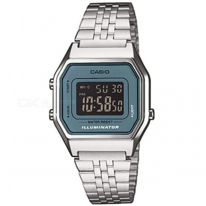 Casio LA680WA-2BDF Digital Alarm Watch - Silver + Blue (Without Box)Quartz Watches<br>Form  ColorSilver + Light BlueModelLA680WA-2BDFQuantity1 DX.PCM.Model.AttributeModel.UnitShade Of ColorSilverCasing MaterialResin / Chrome platedWristband MaterialStainless SteelSuitable forAdultsGenderWomenStyleWrist WatchTypeFashion watchesDisplayDigitalMovementDigitalDisplay Format12/24 hour time formatWater ResistantFor daily wear. Suitable for everyday use. Wearable while water is being splashed but not under any pressure.Dial Diameter3.35 DX.PCM.Model.AttributeModel.UnitDial Thickness2.86 DX.PCM.Model.AttributeModel.UnitWristband Length0.86 DX.PCM.Model.AttributeModel.UnitBand Width2.1 DX.PCM.Model.AttributeModel.UnitBatteryCR1616Packing List1 * LA680WA-2BDF Womens Watch<br>